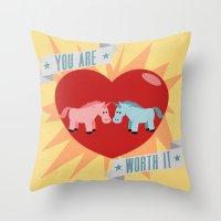 Unicorns Are Worth It Throw Pillow
