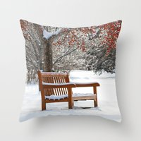 Winter Bench and Crabapple Tree Throw Pillow