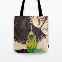 Feather Girl Tote Bag