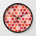 Red Tiles Wall Clock