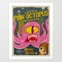 Pink Octopus From Outer … Art Print