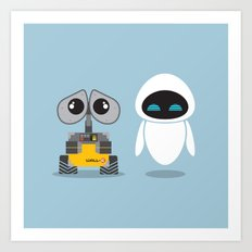 Wall-E and Eve Art Print