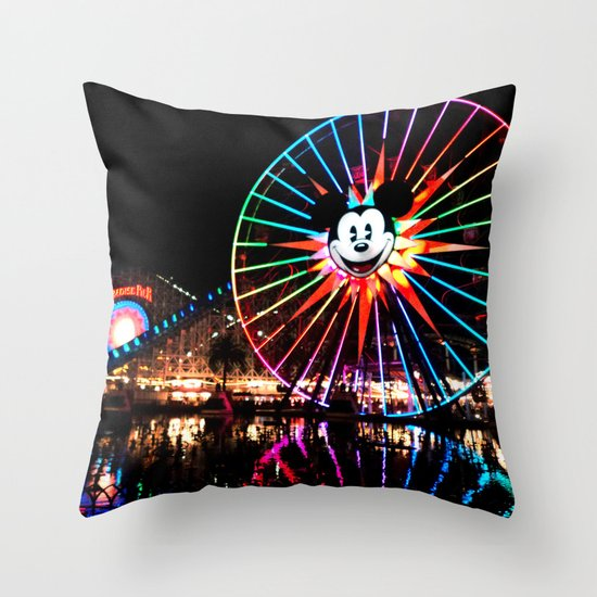 Paradise Pier at Night Throw Pillow