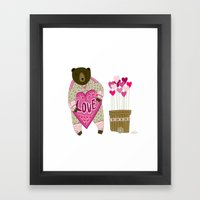 Bear With Loveheart Framed Art Print