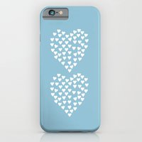 iPhone & iPod Case featuring Hearts Heart x2 Light Blue by Project M