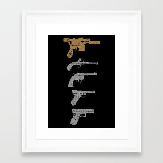 A long time ago with a blaster far, far away... Framed Art Print