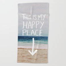 My Happy Place (Beach) Beach Towel
