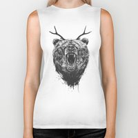 Angry bear with antlers Biker Tank