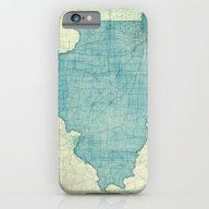 Illinois Map Blue Vintag… iPhone 6 Slim Case