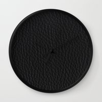 Black Leather case Wall Clock