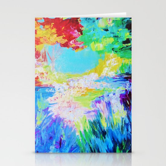 IN DREAMS - Gorgeous Bold Colors, Abstract Acrylic Idyllic Forest Landscape Secret Garden Painting Stationery Card