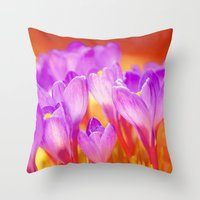 Easter Crocus Throw Pillow