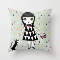 She loves her eames.  Throw Pillow