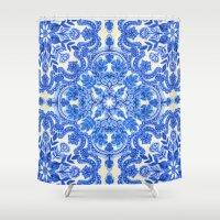 Cobalt Blue & China White Folk Art Pattern Shower Curtain