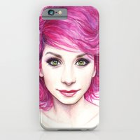 iPhone & iPod Case featuring Pink Hair Green Eyes by Olechka