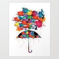 Rainbow rainy day Art Print