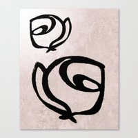 Flowers, Mother-Daughter, Pink Canvas Print