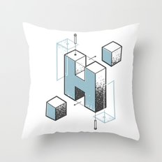 The Exploded Alphabet / H Throw Pillow