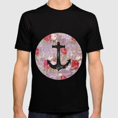 Vintage Nautical Anchor Purple Pink Floral Pattern  Mens Fitted Tee Black SMALL