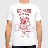 GO HARD OR GO HOME Mens Fitted Tee White SMALL