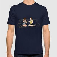 girl talk Mens Fitted Tee Navy SMALL