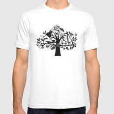 :) animals on tree White Mens Fitted Tee SMALL