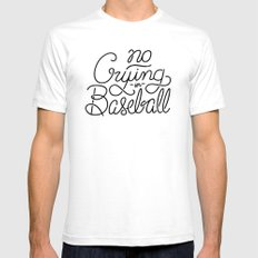 No Crying in Baseball SMALL White Mens Fitted Tee