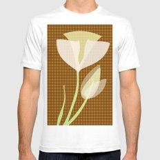 Modern Poppy Flower White Mens Fitted Tee SMALL