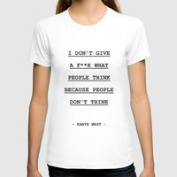 I DON' T GIVE A F**K W… Womens Fitted Tee White SMALL