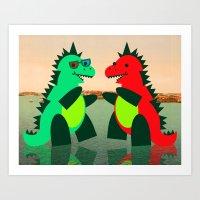 Dino Party at Sea Art Print