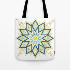 Marble and Gold Pattern in Blue Tote Bag