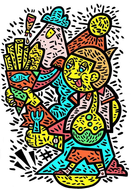 Fish and Chips Art Print