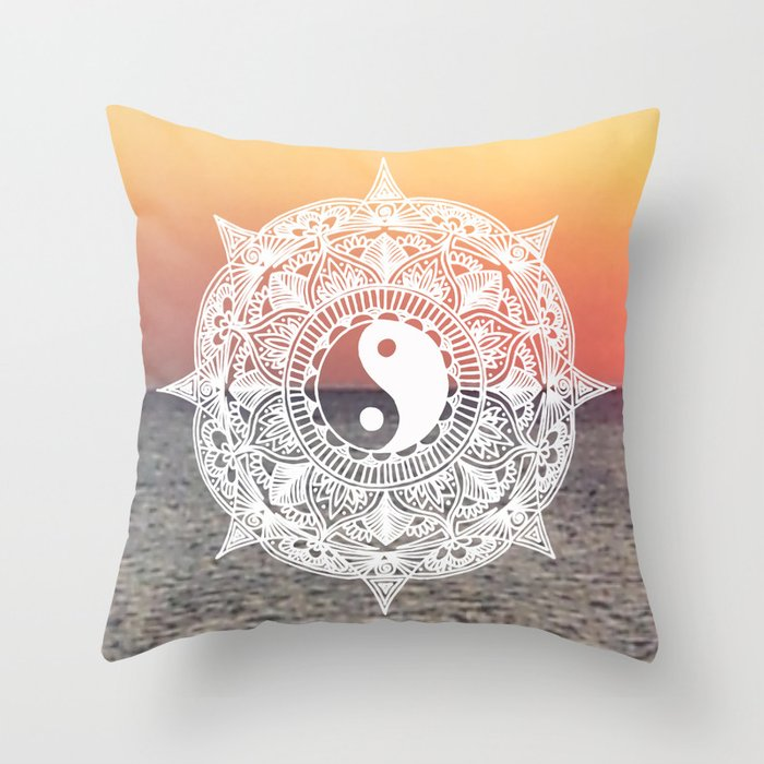 Sunset yin yang mandala throw pillow