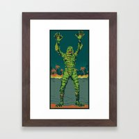 The Creature Surfaces Framed Art Print