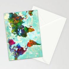 Abstract Watercolor World Map Stationery Cards
