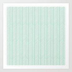 Herringbone Mint Art Print