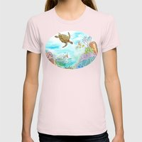 Turtle Reef Womens Fitted Tee Light Pink SMALL