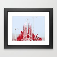 Barcelona under construction. Framed Art Print