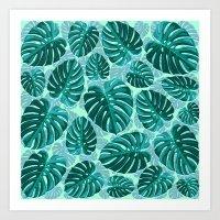 Tropical Leaf Monstera Pattern  Art Print