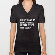 Unisex V-Neck featuring I Just Want To Drink Cof… by WORDS BRAND™
