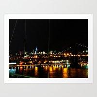 Manhattan At Night Art Print