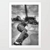 The Skater In The Bowl Art Print