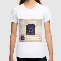 Vintage black camera and Joyce and Dracula books on Map pattern background  Womens Fitted Tee Ash Grey SMALL