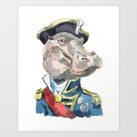 Admiral hippo Art Print