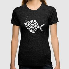 Fish are friends..... Womens Fitted Tee Tri-Black SMALL