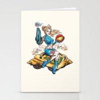 Pinup Samus Tattoo Bomber Girl Stationery Cards