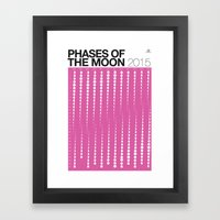 PURPLE 2015 Phases of the Moon Calendar Framed Art Print