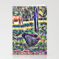 Horses And Hens In A Fie… Stationery Cards
