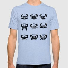 Moustaches of The Pug Mens Fitted Tee Tri-Blue SMALL