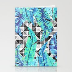 turquoise tropical leaves Stationery Cards